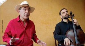 Le violoncelliste Philippe Badin et le comédien Gilbert Dombrowsky plantant quelques graines dans les esgourdes ébaubies de leur auditoire